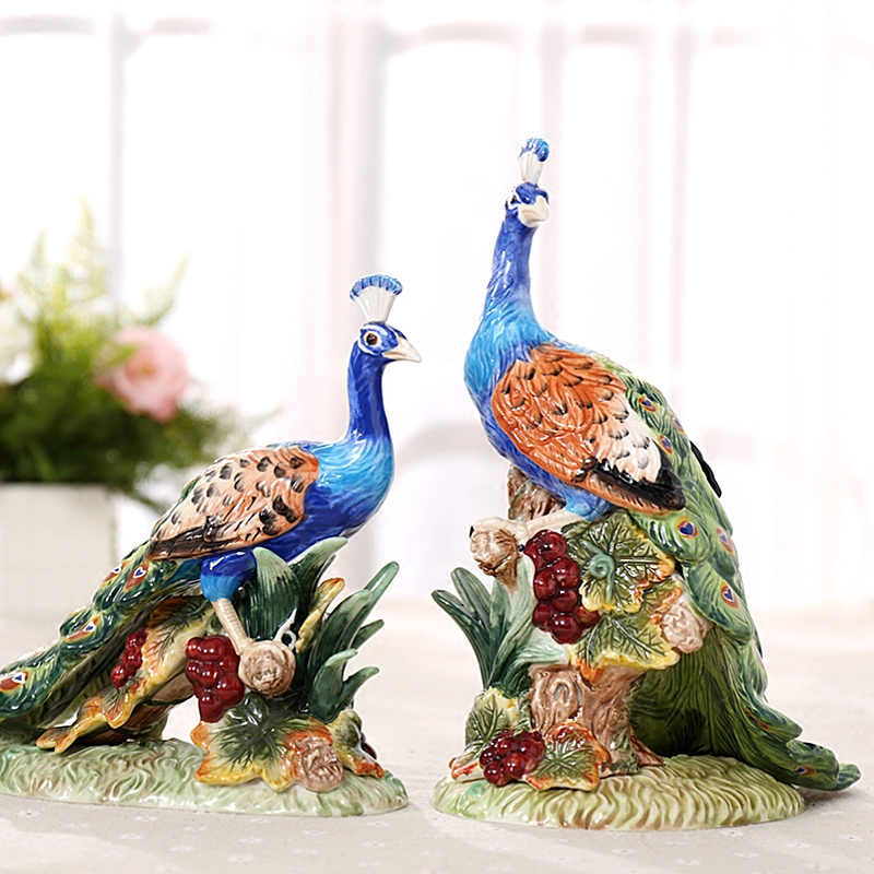 Ceramic Lucky Peacock Lovers Statue Home Decor Crafts Room