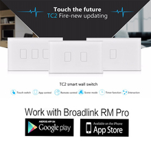 Broadlink TC2,1 2 3 gang US AU Standard Touch Panel Switch,Smart home Automation,smart phone Wireless Remote Control by rm pro