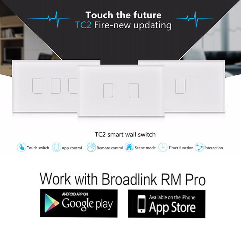 Broadlink TC2,1 2 3 gang US AU Standard Touch Panel Switch,Smart home Automation,smart phone Wireless Remote Control by rm proBroadlink TC2,1 2 3 gang US AU Standard Touch Panel Switch,Smart home Automation,smart phone Wireless Remote Control by rm pro