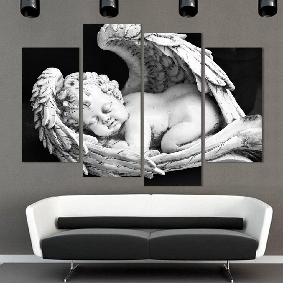 4 개 유럽 화이트 블랙 벗은 아이 천사 캔버스 그림 크리스마스 장식 거실 HD 인쇄 모듈