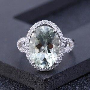 Image 2 - Женское кольцо с камнем GEMS BALLET, обручальное кольцо из стерлингового серебра 925 пробы с овальным натуральным зеленым прасиолитом, 5,57ct