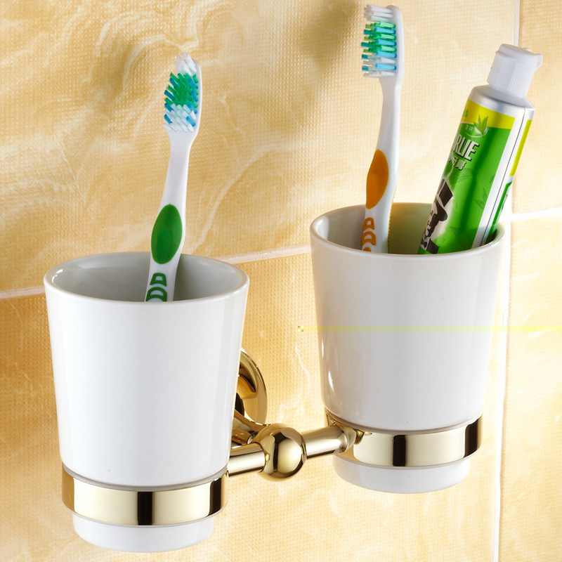 AUSWIND Luxury Gold Solid Brass round base Toothbrush Holder Antique Plated Double Tumbler Ceramic Cup Bathroom Accessories antique solid oak small sideboard base
