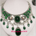 Wholesale>Ethnic Carved Tibet Silver Green Jade Women Tribal Bib Necklace Chocker Jewelry #@