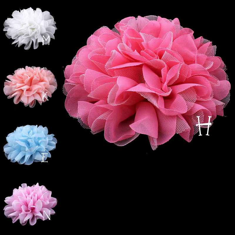 (30pcs/lot)5 5 Colors Fashion Large Mesh tulle Fabric Flower For Sweet Girl Pastel Color Flat Back Flower For Hairband