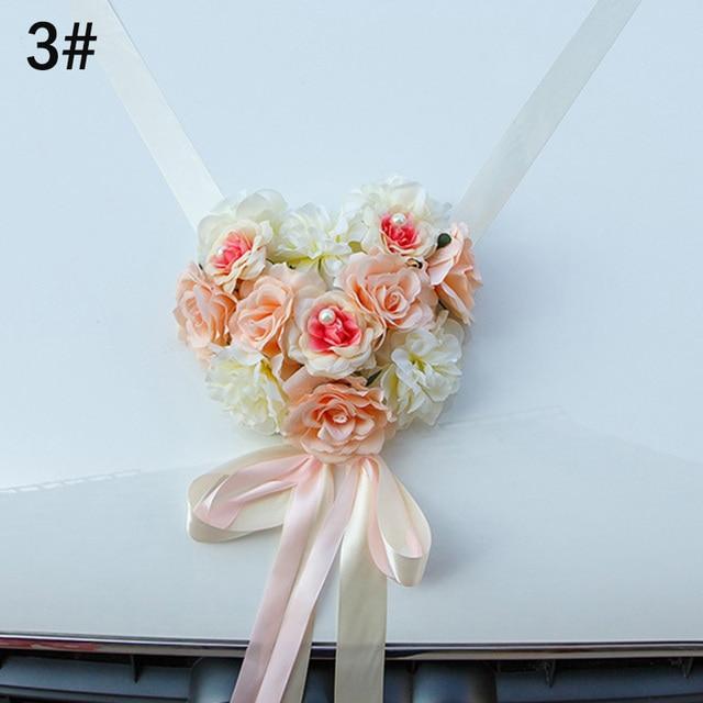Decoración de coche de boda listón con flores artificiales Bowknot boda decoración del hogar suministros LBShipping