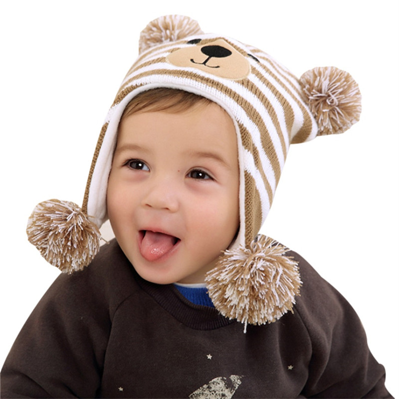 Cartoon Bear Children Warm Winter Caps Fur Pompom Beanie Hats For Kids 2017 Wool Knitted Boys Girls Pom Pom Hat Skullies Bonnet children fur pompom hat baby boys girls winter beanie hats wool knitted caps for kids 2016 hot sale