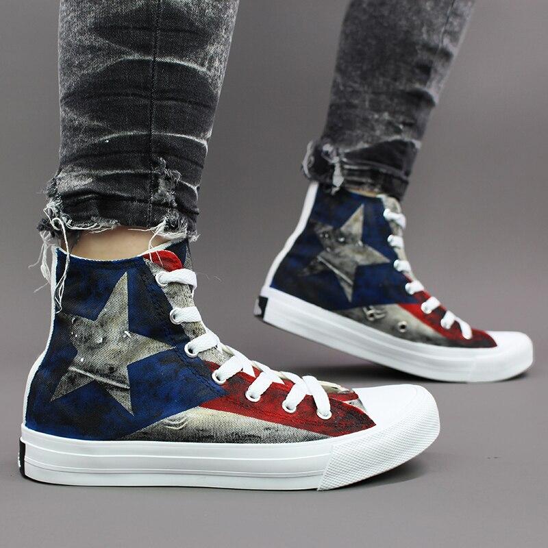 Wen Original Design Hand Painted Shoes Puerto Rico Flag Canvas Shoes Men Women Sneakers Fashion Graffiti