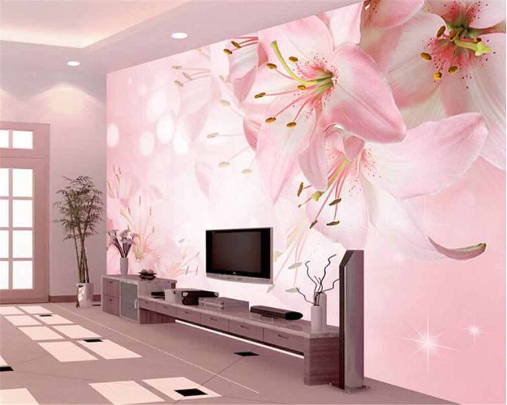 Beibehang 3d Wallpaper Flower Flower Lily Backdrop Decoration Painting Living Room Bedroom Background wallpaper for walls 3 d beibehang four color stitching 3d wallpaper 3d lattice mosaic backdrop wallpaper bedroom living room wallpaper for walls 3 d