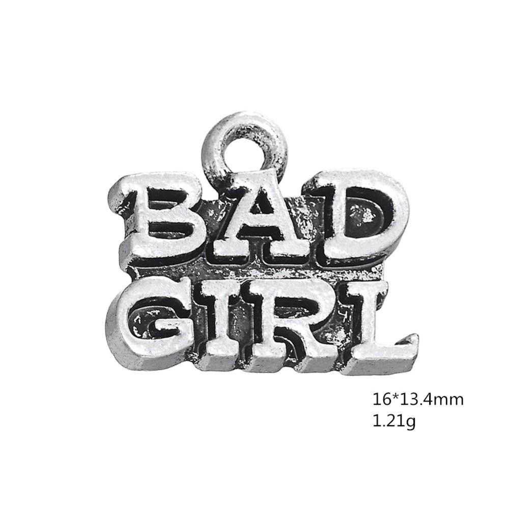 Believe Meme Quotes Words Tibetan Silver Charm for Charm Bracelets Womens Girls Jewellery Big Hole Charm European Charms