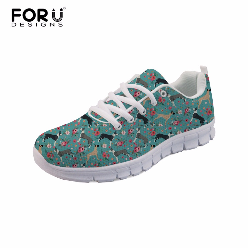 ELVISWORDS Brittany Dog Flowers Women Sneakers Great Dane Printing Ladies Lightweight Shoes School Student Daily Air Mesh Shoes