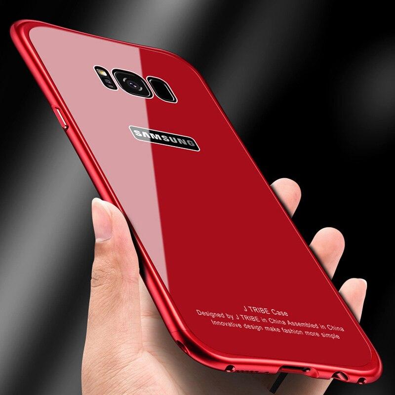 Nouvelle smart mobile Téléphone Cas Pour Samsung Galaxy S8 Plus note 8 En Verre Trempé Aluminium Métal 360 degrés protection telefon couverture