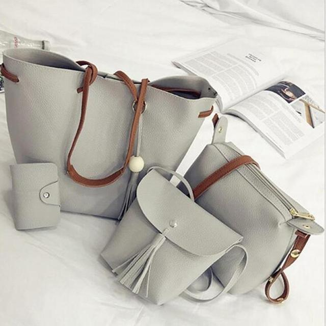 4Pcs/Set Women Faux Leather Handbag Shoulder Bag Tote Purse Messenger Handbag bag for women 2018