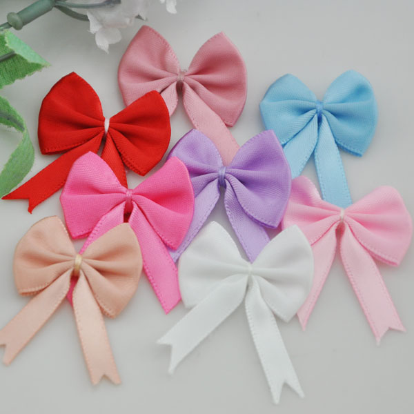 10PC Organza Ribbon Flowers Bows Rose W// Green Leaf Appliques Craft Mix