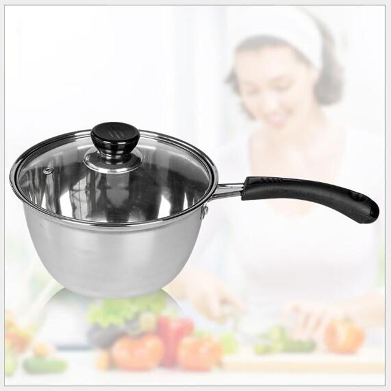 1 PCS 304 stainless steel milk pot single stainless steel cookware ordinary fire pot baby milk noodle pot
