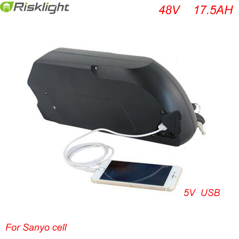 48v 1000w li-ion electric bike battery 48v 17.5ah tigershark down tube ebike battery with 5V USB +charger +bms For Sanyo Cell free customs taxes super power 1000w 48v li ion battery pack with 30a bms 48v 15ah lithium battery pack for panasonic cell
