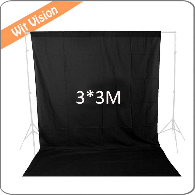 10FT*10FT  Muslin Black Background Cloth  Photography Backdrop for Photographic Lighting Studio free tax to russia new photographic equipment diamond cloth background backdrop new 3 6m muslin background cloth black