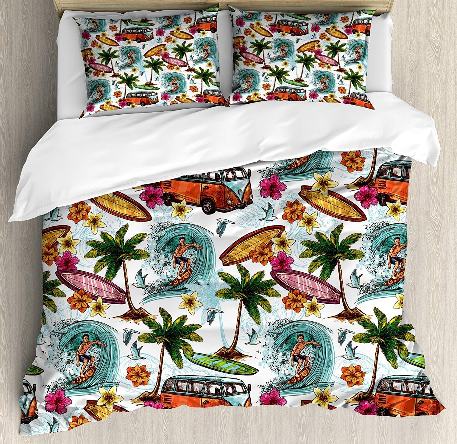 Ocean Bedding Set Hawaiian Surfer on Wavy Deep Sea Retro Style Palm Trees Flowers Surf Boards Print 3/4pcs Duvet Cover SetOcean Bedding Set Hawaiian Surfer on Wavy Deep Sea Retro Style Palm Trees Flowers Surf Boards Print 3/4pcs Duvet Cover Set