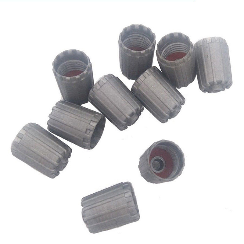 10pcs/set Plastic Gray Tire Valve Stem Cap Tpms Tire Cap With Gasket Ff2 High Quality Tire Valve Stem Caps Accessories
