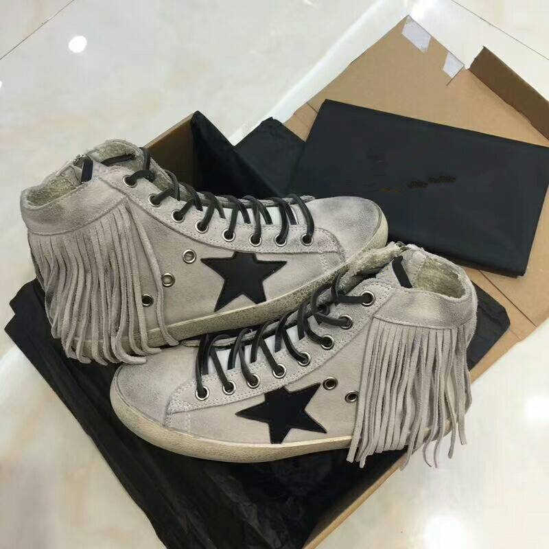 New Women Casual Shoes Suede Leather Fashion Tassel Do Old Dirty Shoes  Mixed Color Women Sequins 8e8055a4f9d8