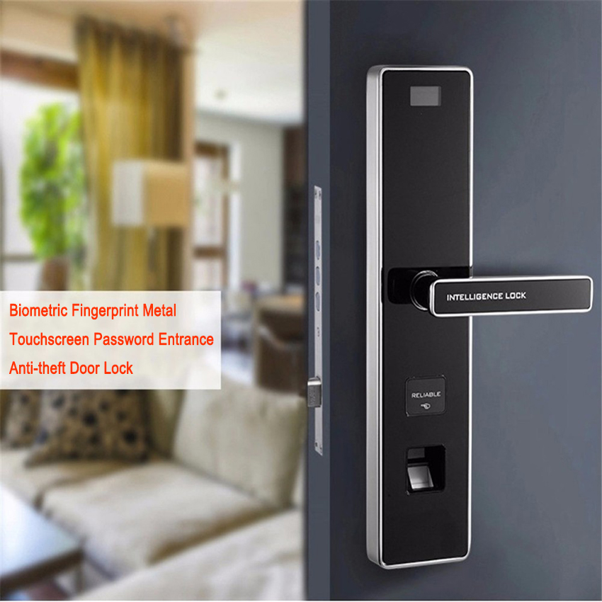 Biometric Fingerprint Metal Touchscreen Password Entrance Anti-theft Door Lock Biometric Access Handle Types Door Locks OS008F biometric face and fingerprint access controller tcp ip zk multibio700 facial time attendance and door security control system