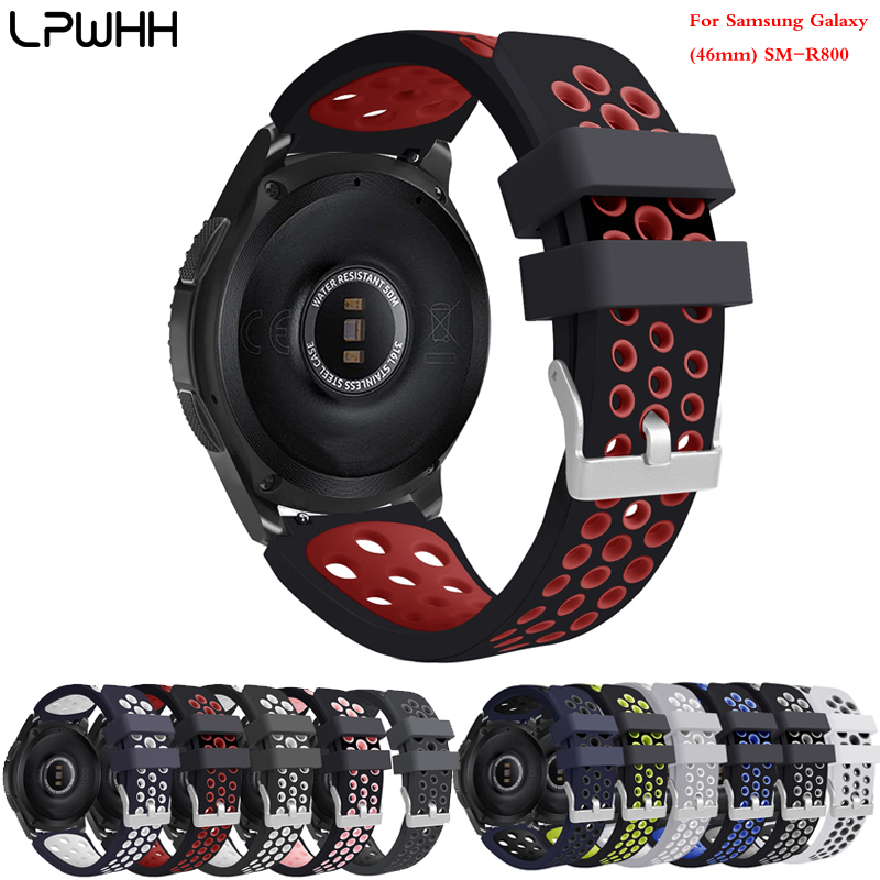 LPWHH Red Silicone Watchband For Samsung Galaxy 46mm SM-R800 Watch Breathable Double-color Strap Soft Comfortable Belt