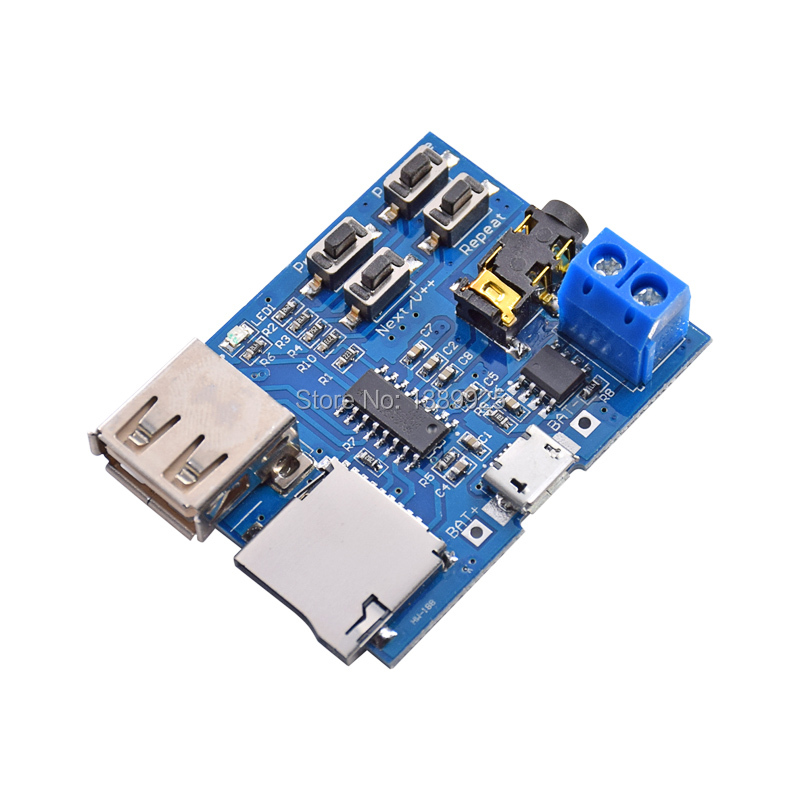 1Pcs TF Card U Disk MP3 Format Decoder Board Mirco USB Port Amplifier Decoding Audio Player Module 3.7-5.5V