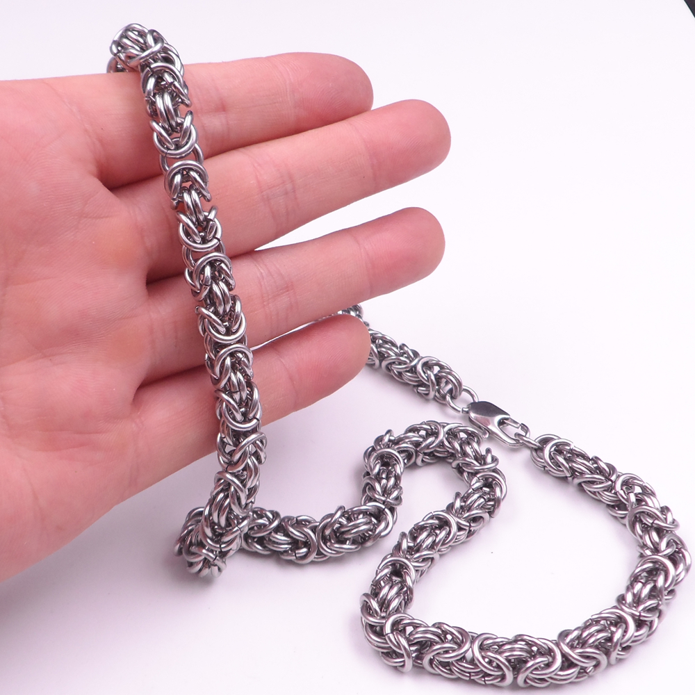 for silver amazon orazio steel men tone inches byzantine dp necklace link chain com stainless black