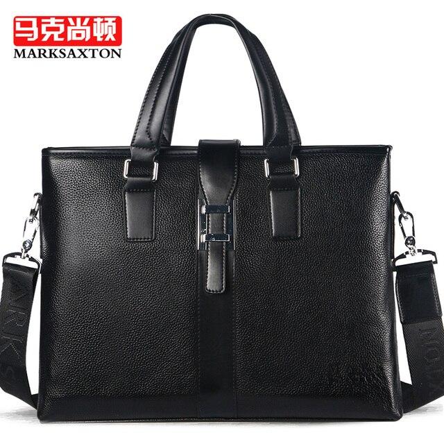 MARKSAXTON Brand Designer Genuine Leather Men Bag Briefcase Cowhide Shoulder Messenger Bags Fashion Male Handbag Laptop bags
