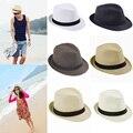 Sombreros de moda para Las Mujeres de Fedora Del Sombrero Flexible del Gángster Cap Beach Summer Sun Paja Sombrero Panamá con Venda Ribbow Sunhat