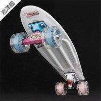 SMANO MINI CRUISER PP SkateBoard 22 In FishSkateBoard Single Rocker Monopatin Street Skate Skateboard Blue White