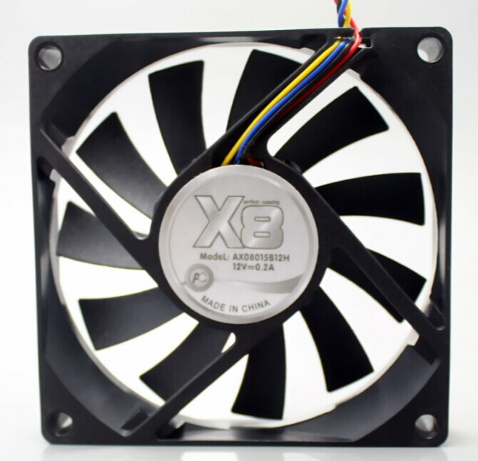 free shipping X8 AX08015B12H 8015 2-Ball Bearing cooling fan with 12V 0.2A 4-Wires 4Pin PWM ultralthin PC X8 8015 сопутствующие товары gehwol ballenpolster g 1 шт