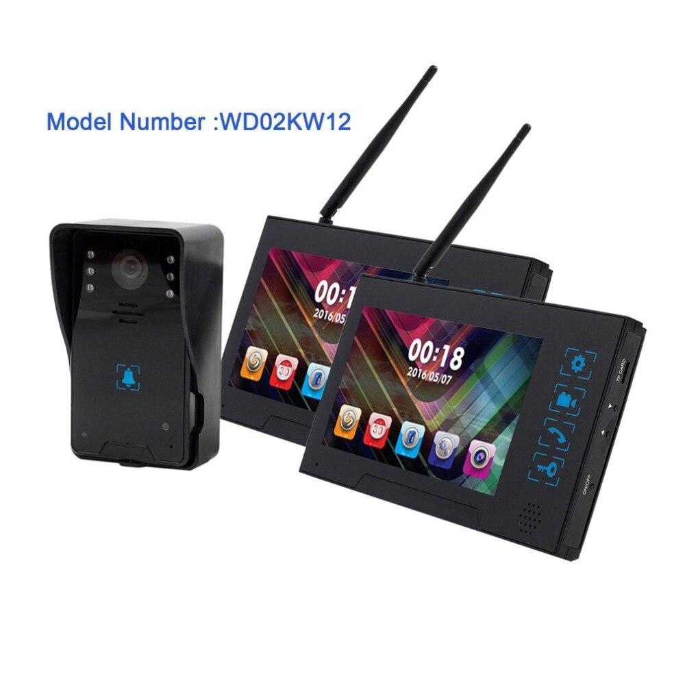 WD02KW11 от одного до двух видеомонитор 220 В дома Беспроводной дверной звонок видео домофон инфракрасный Ночное видение охранных