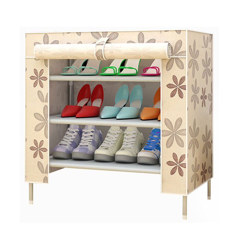Multifunction Storage Shoe Rack 3D Cartoon Pattern Shoe Cabinet Simple Non-woven DIY Shoe Organizer Shelf Furniture