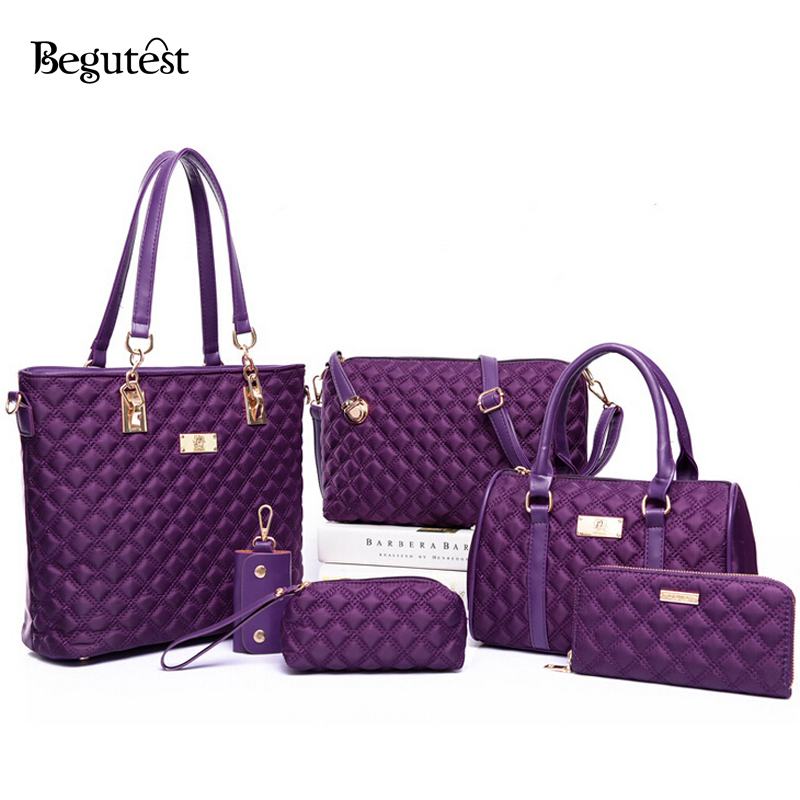 ФОТО New Begutest Brand Designer 6 In 1 Women Bags Vintage Lozenge Plaid Handbag Female Crossbody Messenger Bags Oxford Clutch