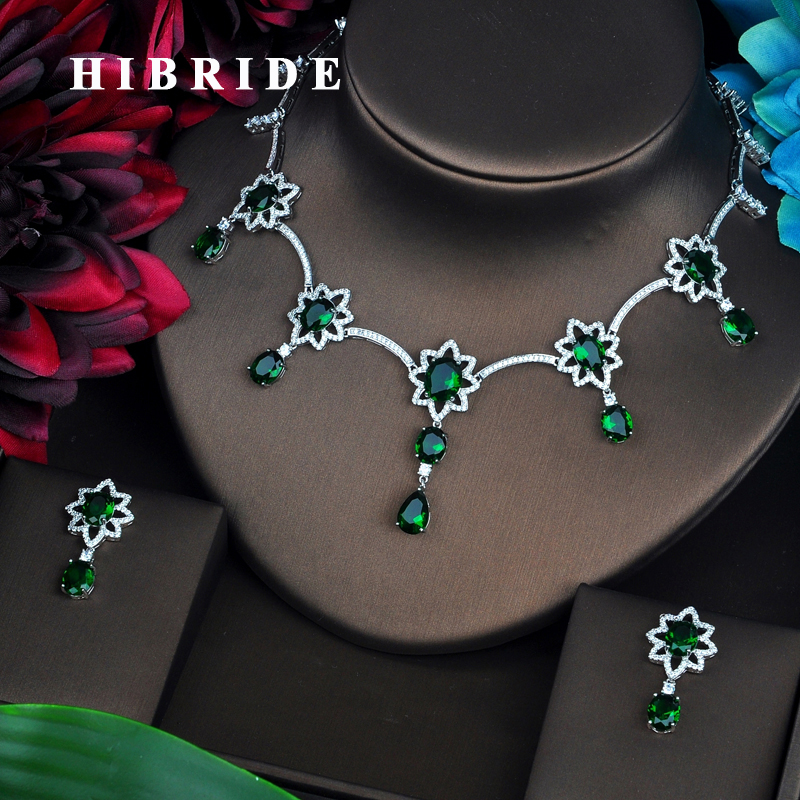 HIBRIDE Green AAA Cubic Zirconia Jewelry Sets For Women Fashion Drop Earring Set Wedding Dress Accessories