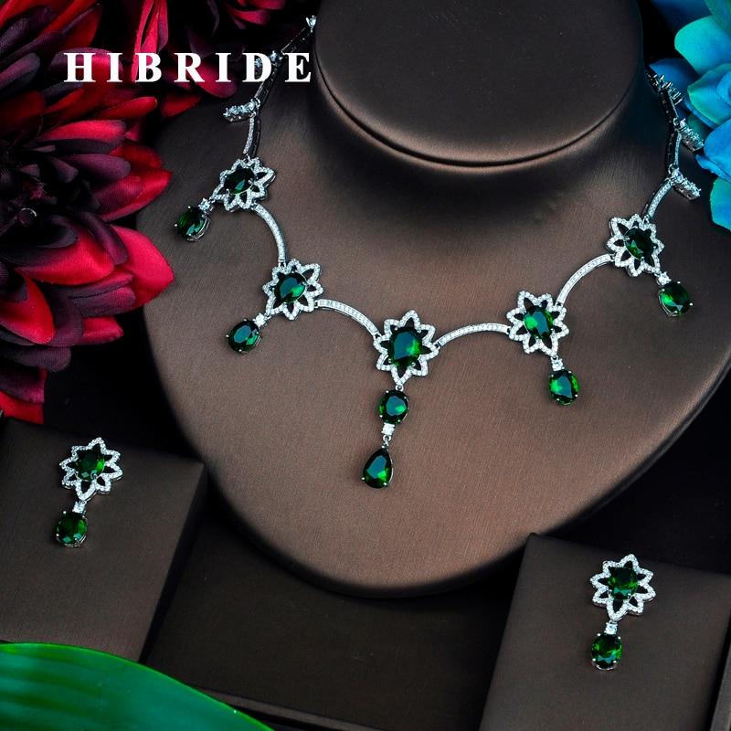 HIBRIDE グリーン Aaa キュービックジルコニア女性のファッションドロップイヤリングセットウェディングドレスのアクセサリー卸売価格 N 449  グループ上の ジュエリー & アクセサリー からの ジュエリーセット の中 1