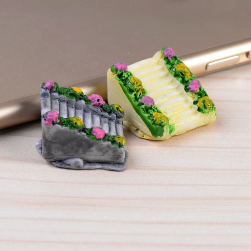 1Pcs Mini Resin Stone Stairs Flight Bamboo Raft Figurines Micro Landscaping Decor For Garden DIY Craft Accessories