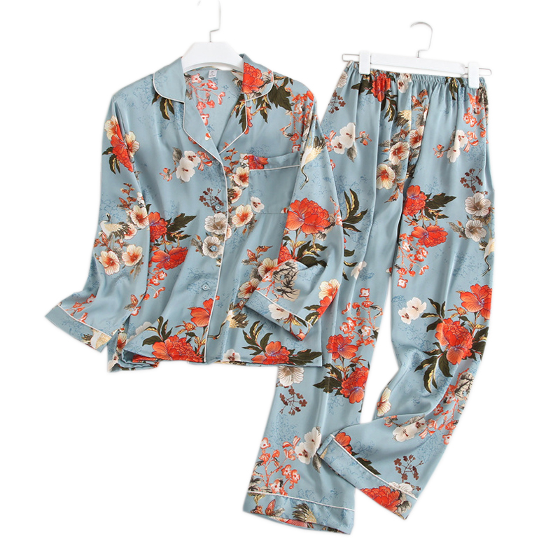 New Sexy Floral satins silk   pajamas     sets   women fashion flower spring long sleeve pyjamas nightwear silk satin women pijama mujer