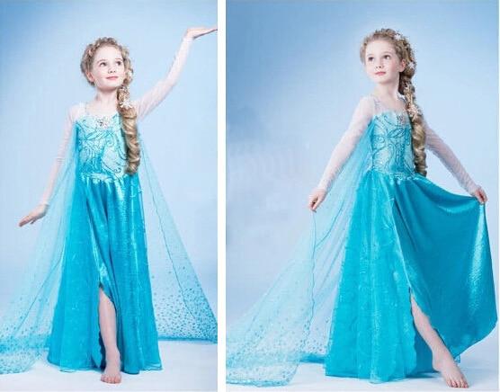 New girl font b dress b font Elsa font b Dress b font Custom Cosplay Summer