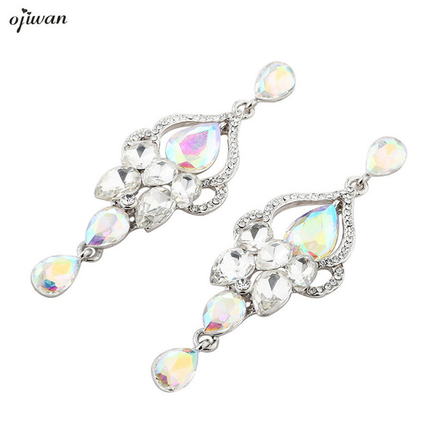 Bridal Wedding Earrings Jewelry Clear White Teardrop Bridesmaid Gift Chandelier