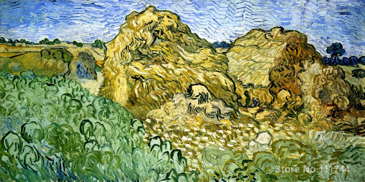 famous art for bedroom Field with Stacks of Wheat Vincent Van Gogh paintings Hand painted High quality