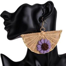Japan Style Flower Wooden Rattan Sector Statement Earrings For Women 2019 Handmade Geometric Drop Straw Weave Knit Vine Jewelry