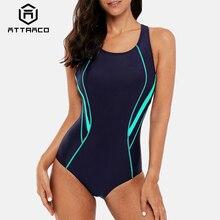 Attraco Women One Piece Sports Swimwear Swimsuit Backless Beachwear Bathing Suit Training Bikini Monokini