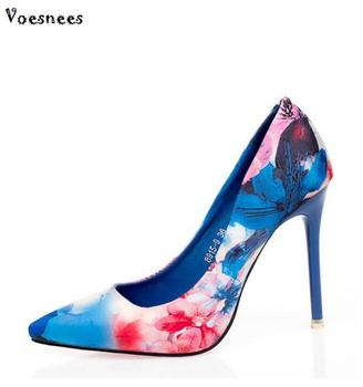 10CM Colorful Ladies Floral Print Slip On Pointed Toe Pumps 2