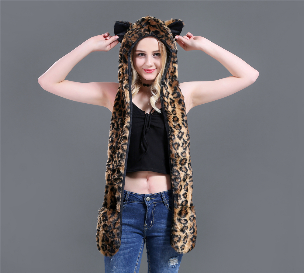 European And American Hoods Hat Scarf Glove-in-one Animal Hat Imitating Fur Hat Plush Cap And Leopard Print Winter Set