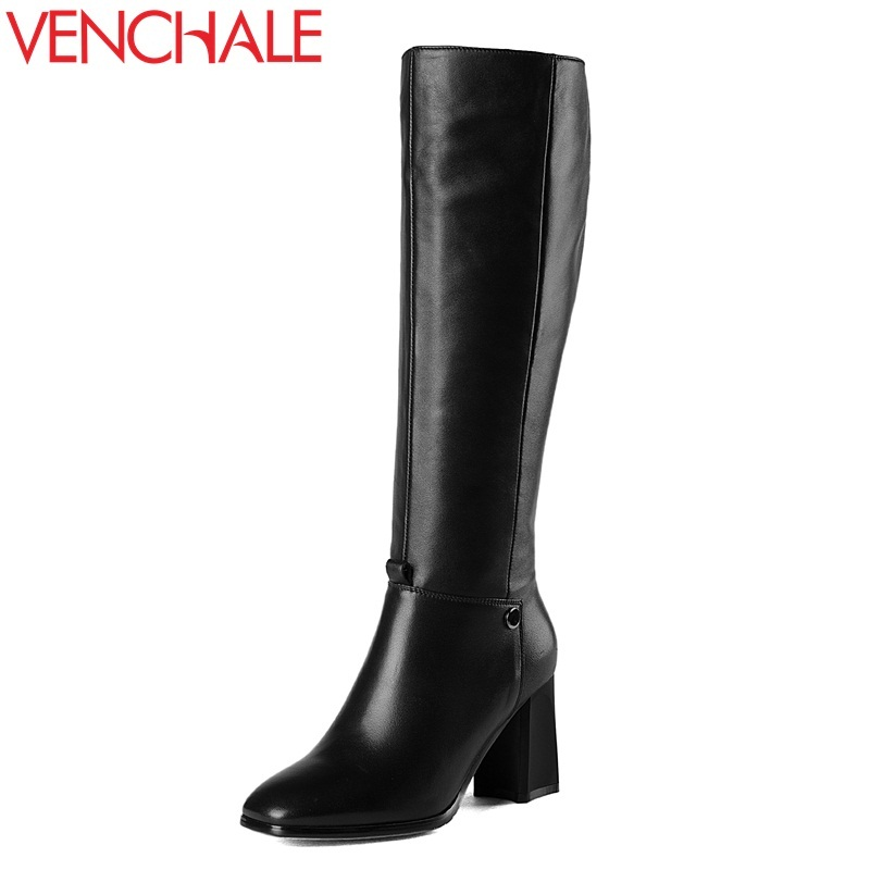 VENCHALE knee-high boots 2017 genuine leather square toe popular elegant side zipper thick heels modern winter queen women boots krazing pot genuine leather sheep skin thick high heels square toe zipper boots women superstar party western mid calf boots l17