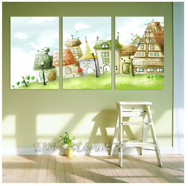 Free shipping Canvas Painting Oil Printed 3 Pieces/set of lovely ...