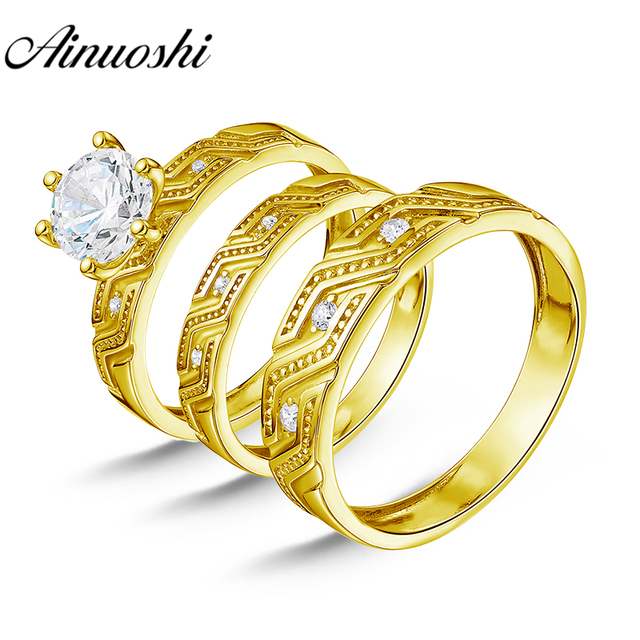 AINUOSHI 7.3g Real Gold TRIO Rings Bridal Rings Set Exquisite Pattern Engagement Jewelry 10K Yellow Gold Couple Wedding Ring Set