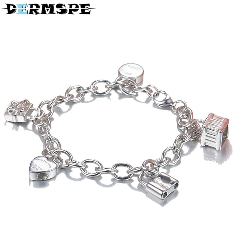 DERMSPE TIFF 925 Sterling Silver Heart & Key Bracelets Love Letter Fashion Rose Gold Color Women Charm Jewelry Free Shipping все цены