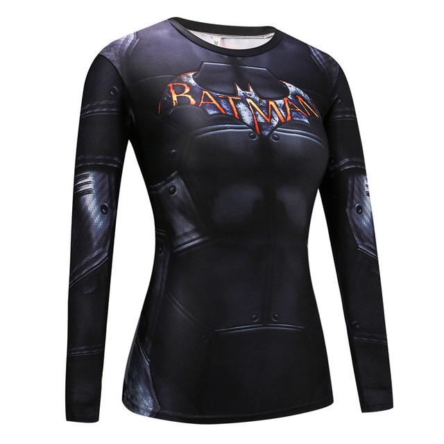 Moda Homem De Ferro Homem Aranha Capitão América Superman T Shirt Mulheres Camisa De Compressão Academias de fitness Apertado Mulheres Tshirt Longo Da Luva